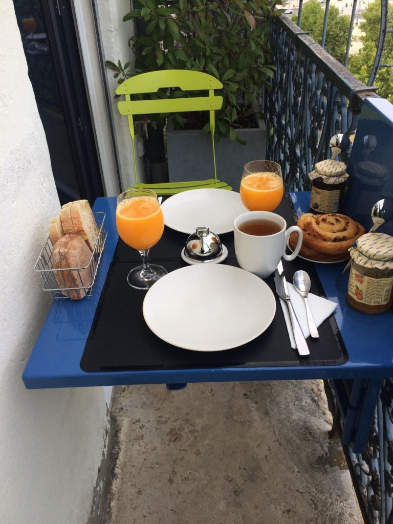 Breakfast at our Airbnb in Lyon