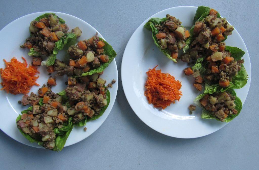 Lyonnaise lentil salad in lettuce leaves