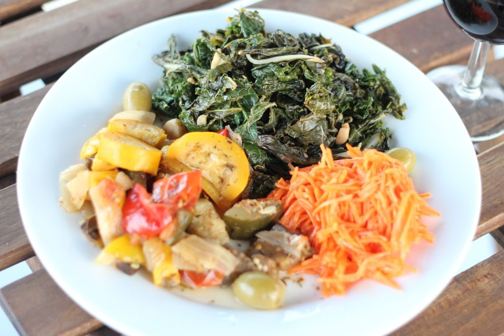 Sauteed greens, ratatouille and grated carrot salad