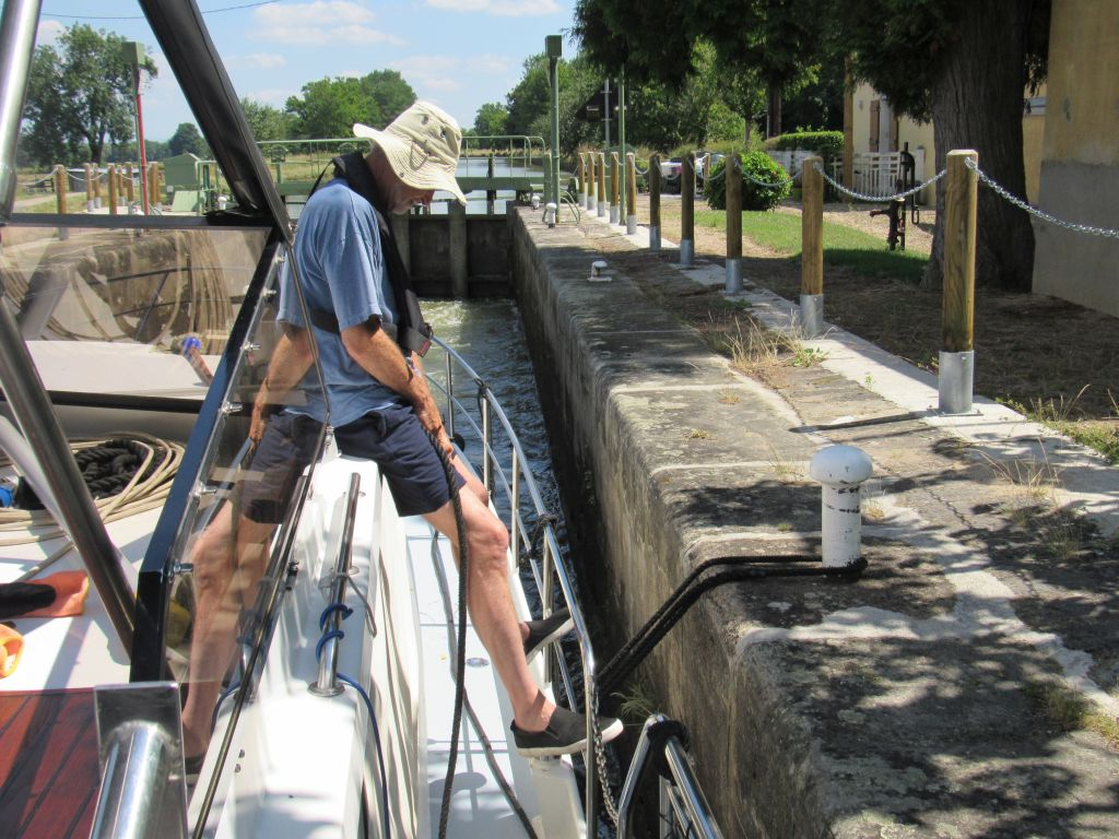 Patrick holding the boat in place